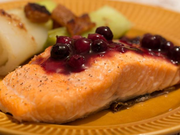 Grilled Salmon With Blueberry Sauce. Photo by Peter J