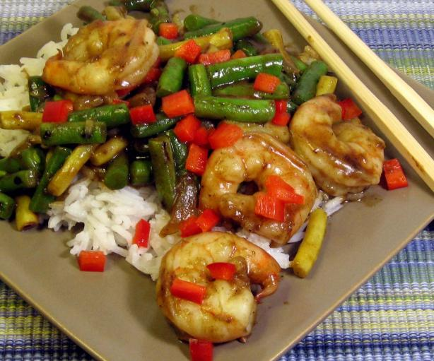 Shrimp With Green Beans in Thai Chili Sauce. Photo by dianegrapegrower