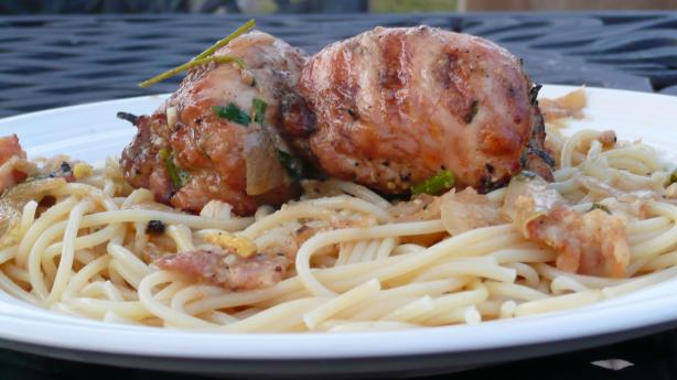 BBQ Chicken Thigh Roll In White Wine Pasta Sauce Chicken Bragjo Recipe ...