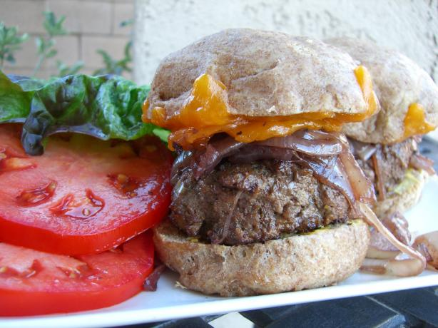 Bison Burgers With Cabernet Onions And Wisconsin Cheddar Recipe - Food ...
