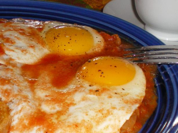 Eggs in Purgatory. Photo by Julie B's Hive