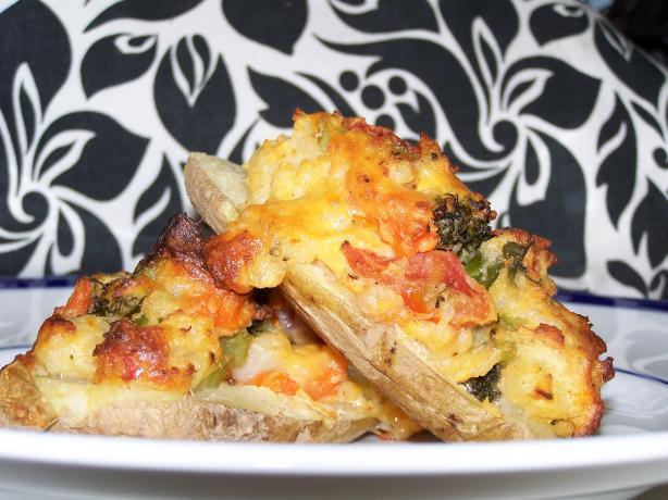 Veggie Stuffed Twice Baked Potato Boats Recipe - Cheese.Food.com
