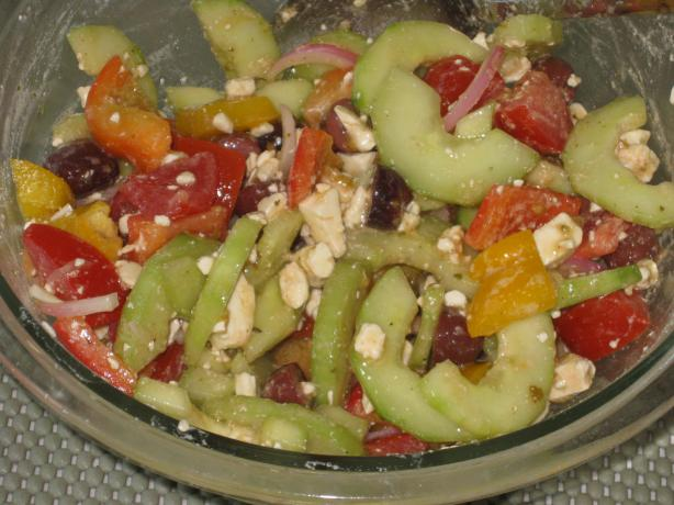 Greek Tomato Salad With Feta Cheese And Olives Recipe - Cheese.Food ...