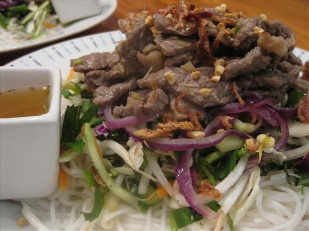 Lemongrass Beef and Onion Noodle Salad (Bun Bo). Photo by Chickee