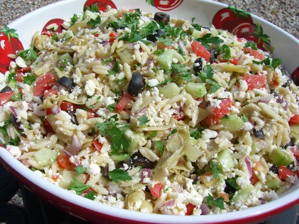 Greek Orzo Artichoke Salad. Photo by Chef*Lee