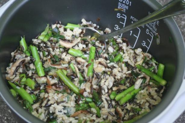 Stir-Fried Wild Rice With Asparagus and Mushrooms. Photo by Diann is ...