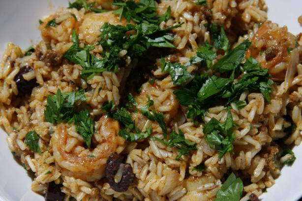 Rice With Chorizo, Shrimp, And Green Olives Recipe — Dishmaps