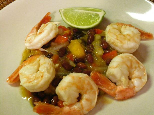 Calypso Shrimp With Black Bean Salsa. Photo by Slim PA