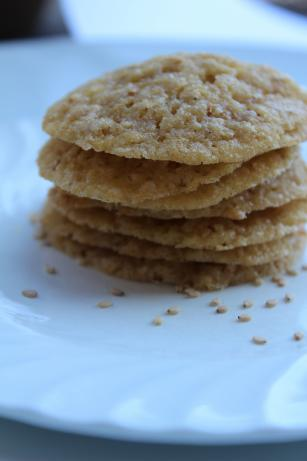 Sesame Cookies (Benne Wafers). Photo by Cookgirl