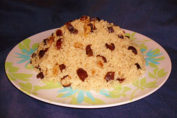 Mesfouf Qsentena - Sweet Couscous With Dates & Nuts. Photo by Um Safia