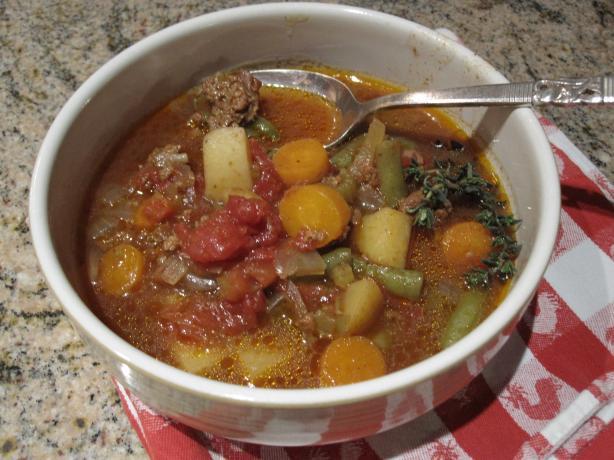 Burger Vegetable Soup(Crock Pot). Photo by CaliforniaJan