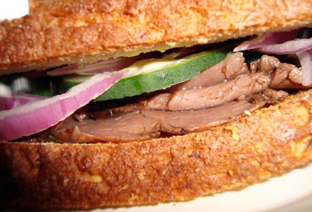 Horseradish Roast Beef Special Sandwich. Photo by happynana