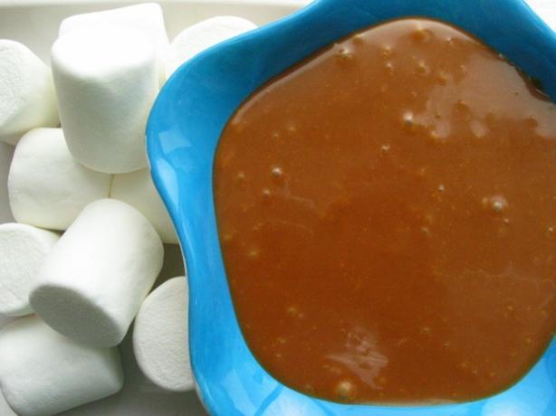 Warm Butterscotch Peanut Butter Fondue Dip. Photo by flower7