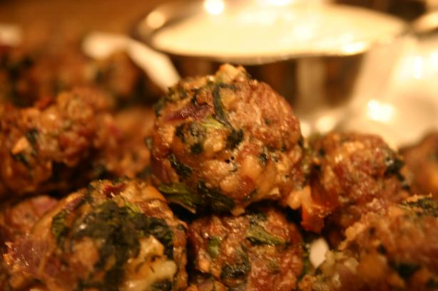 Spanakopita Meatballs With Greek Yogurt Sauce Recipe - Food.com