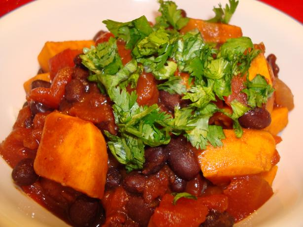 Black Bean and Sweet Potato Chili (Vegetarian). Photo by Starrynews