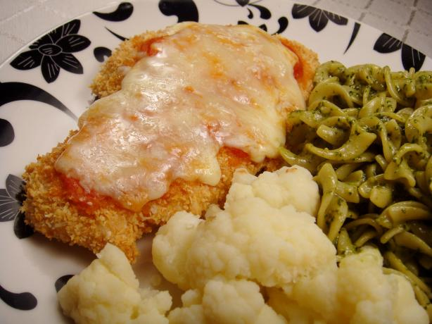 Lighter Chicken Parmesan With Simple Tomato Sauce. Photo by Lori Mama