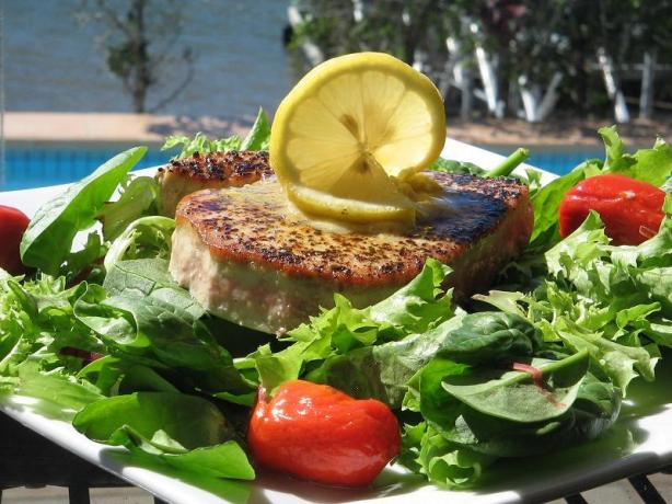 Grilled Tuna Steaks With Lemon-Pepper Butter. Photo by The Flying Chef
