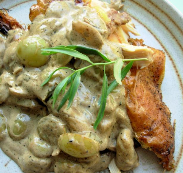 Crispy Roast Chicken With Riesling, Grapes And Tarragon Recipe - Food ...