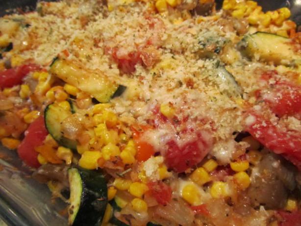 Eggplant, Corn, and Tomato Pie. Photo by cookiemama65