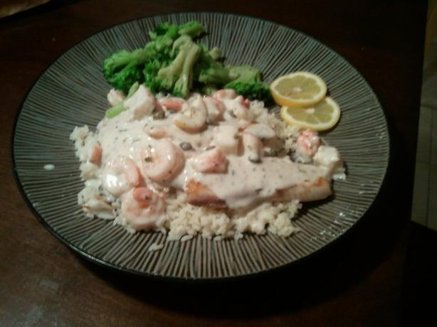 Tilapia With A Creamy Shrimp And Crab White Wine Sauce ...