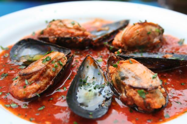 Stuffed Mussels in Spicy Tomato Sauce. Photo by alfrescoacsi
