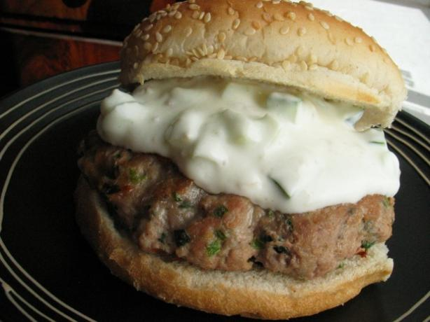 Turkey and Herb Burgers With Yogurt Lemon Dressing. Photo by flower7