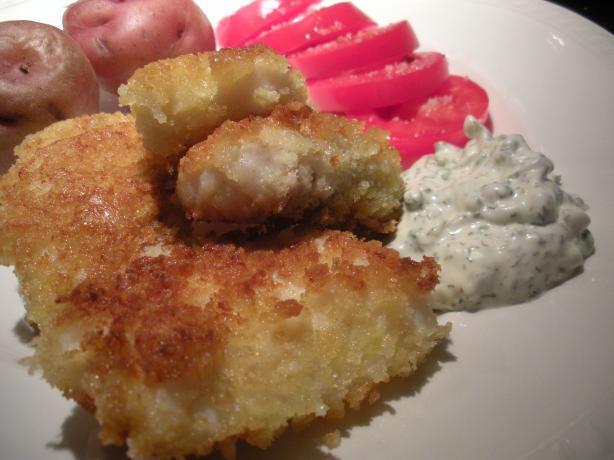 Halibut fish sticks with dill caper tartar sauce recipe for Fish stick sauce