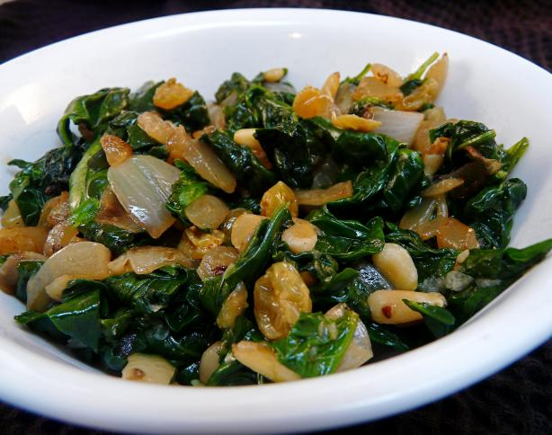 Sautéed Greens With Pine Nuts And Raisins Recipes — Dishmaps