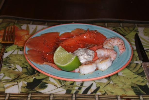 Salmon and Prawns (Shrimp) With Dill and Lime Aioli easy fast recipe