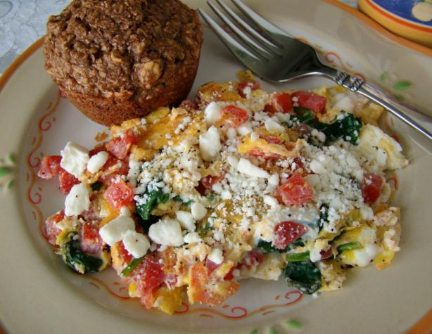 Spinach And Tomato Scrambled Egg With Feta Cheese Recipe - Food.com