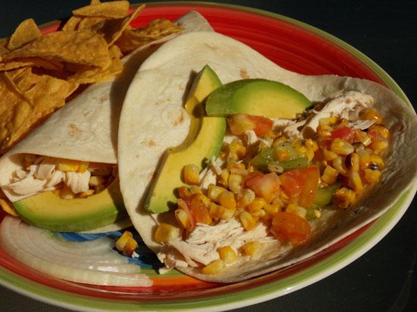 Shredded Chicken Tacos With Tomatoes and Grilled Corn (See directions ...