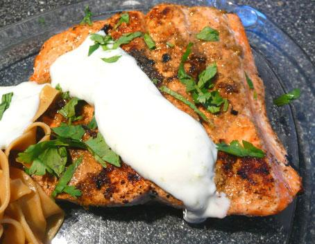 Salmon With Coriander Rub and Lime Cream. Photo by Mikekey