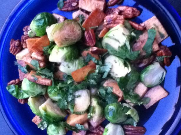 Caramelized Tofu and Brussel Sprouts With Cilantro and Nuts. Photo by ...