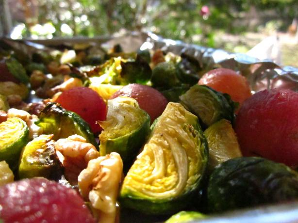 Roasted Brussels Sprouts With Grapes and Walnuts. Photo by gailanng