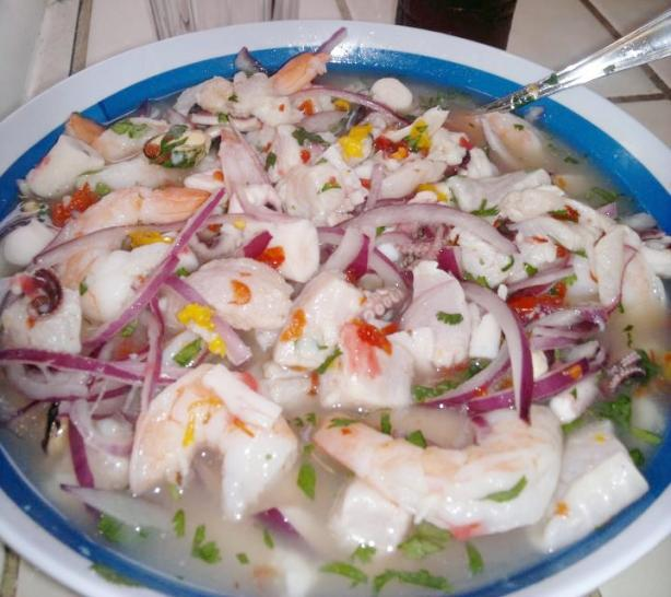 Peruvian Mixed Cebiche (Ceviche Mixto). Photo by cherrylips4923