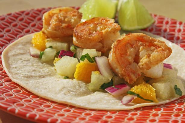 Tequila Lime Shrimp Tacos With Orange Jicama Salsa. Photo by Simply ...