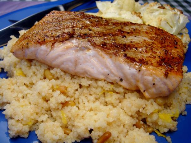 Grilled Salmon With Brown Butter Couscous. Photo by Lori Mama