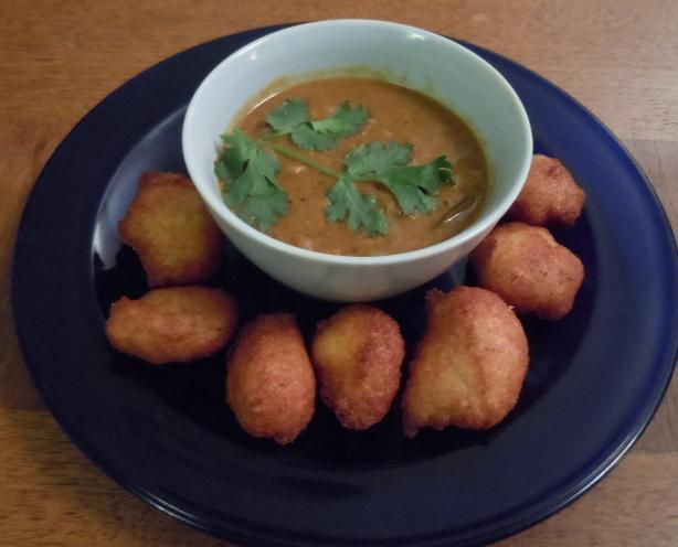 ... Vada (Yellow Lentil Soup With Spiced Doughnuts). Photo by alvinakatz