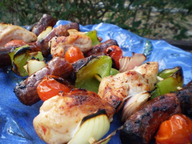 Andouille and Chicken Kabobs With Creole Mustard. Photo by breezermom