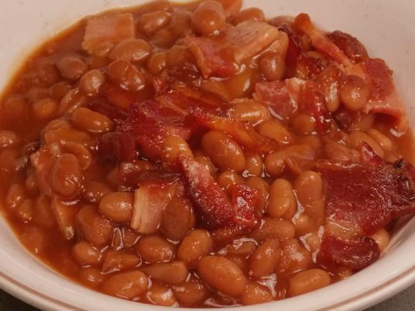 Baked Beans With Baked Bacon. Photo by Lavender Lynn