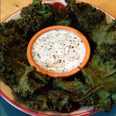 Crispy Kale Chips With Kefir Ranch Dip. Photo by LifewayRecipes