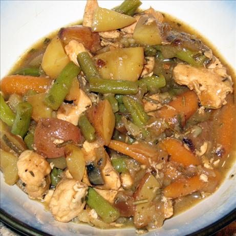 Chicken Stew with Roasted Balsamic Vegetables. Photo by yogiclarebear