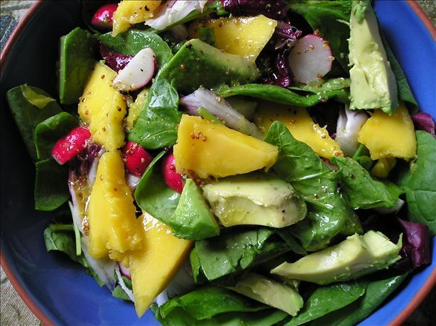 Spinach, Avocado & Mango Salad. Photo by Jenny Sanders