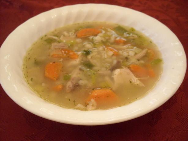 Cock-a-Leekie (Chicken and Leek Soup). Photo by mums the word