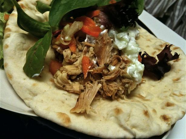 Greek Chicken Pita Pockets - Crock Pot!. Photo by Demandy