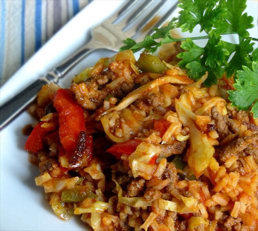 Bloody Mary Style Cabbage Jambalaya. Photo by Caroline Cooks