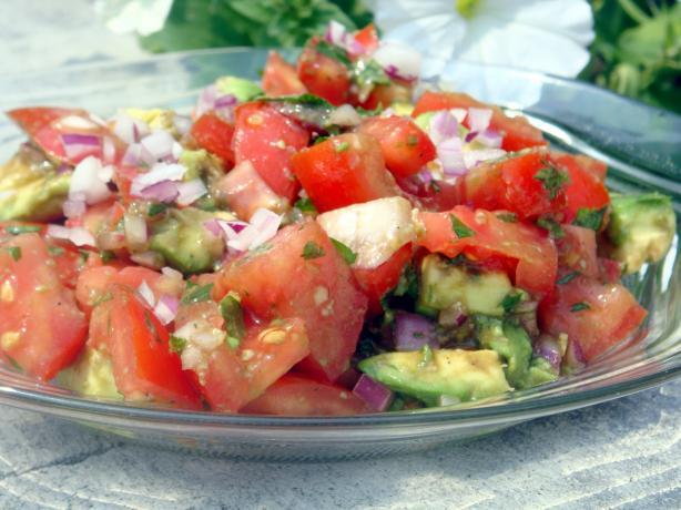 Simple Tomato and Avocado Salad. Photo by Lori Mama