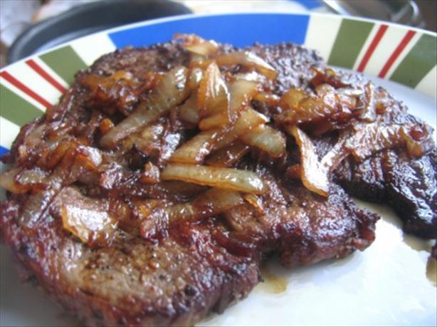 Steak with Caramelized Onions. Photo by Juju Bee